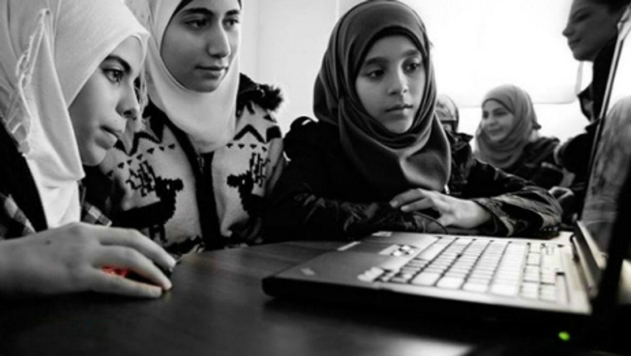 Syrian refugees at Al-Salam school in Reyhanli, Turkey