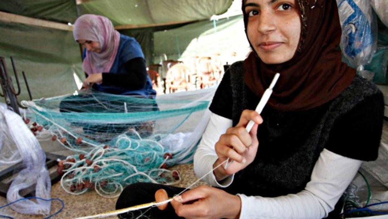 Syrian refugees weaving baskets in Lebanon
