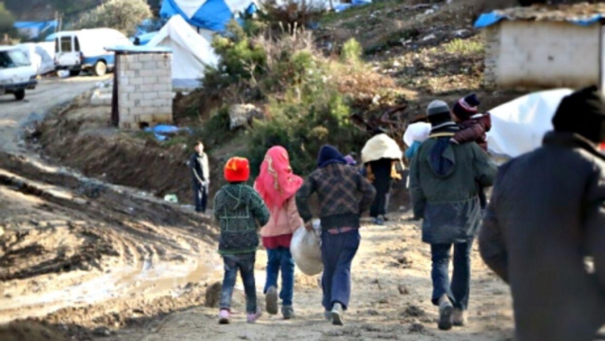 Syrians fleeing Aleppo on Feb. 5