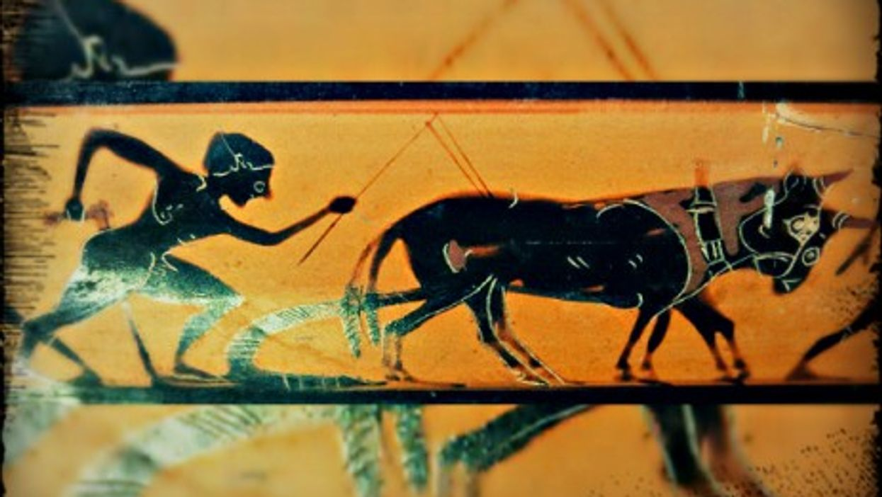 Terracotta depicting a ploughman, circa 530 BC