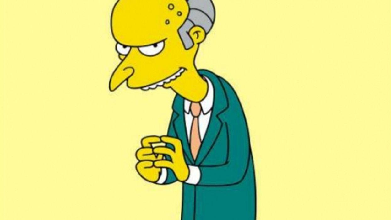 That's Mr. Burns, Homer's boss (Poor Homer...)