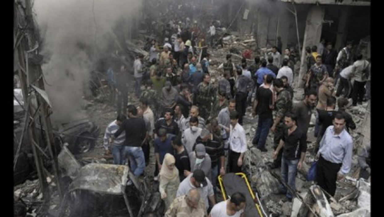 The aftermath of a bombing last month in Damascus that the government blamed on terrorists