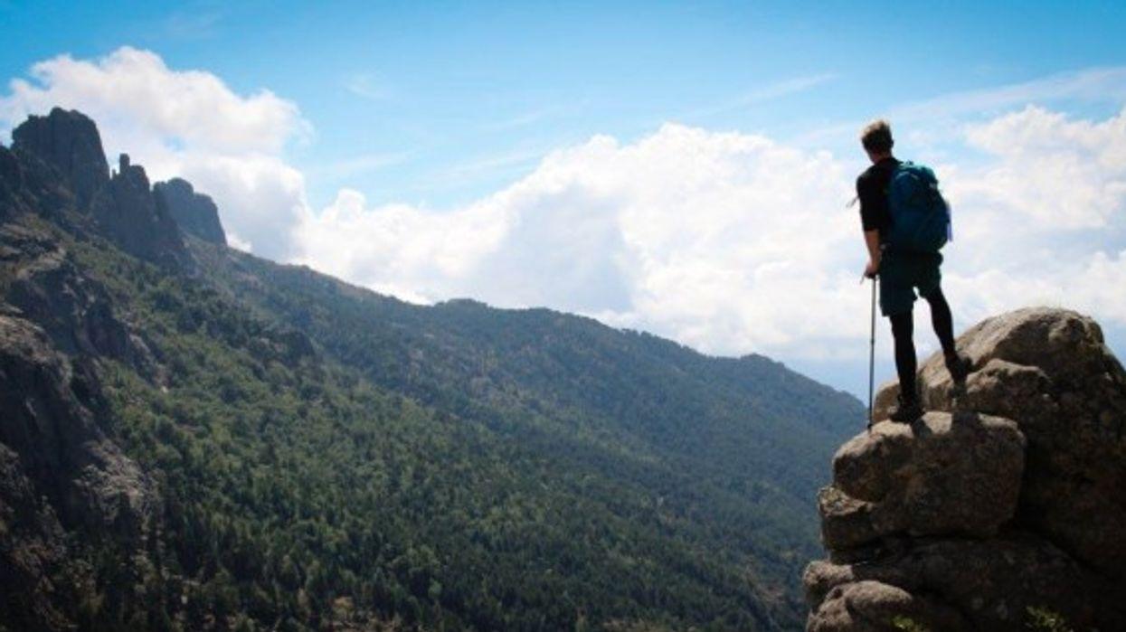 The author contemplating Corsican mountains