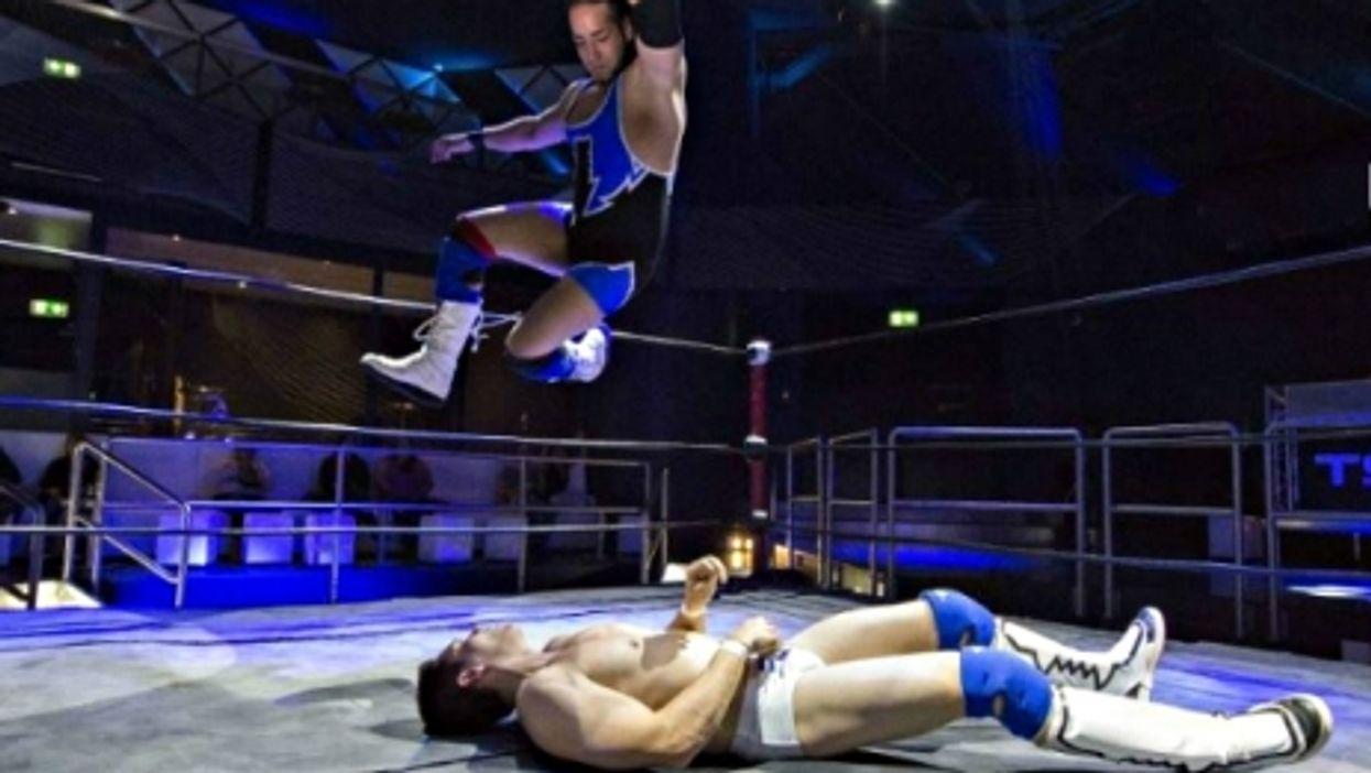 The British Stallion (up), a key figure of Swiss wrestling