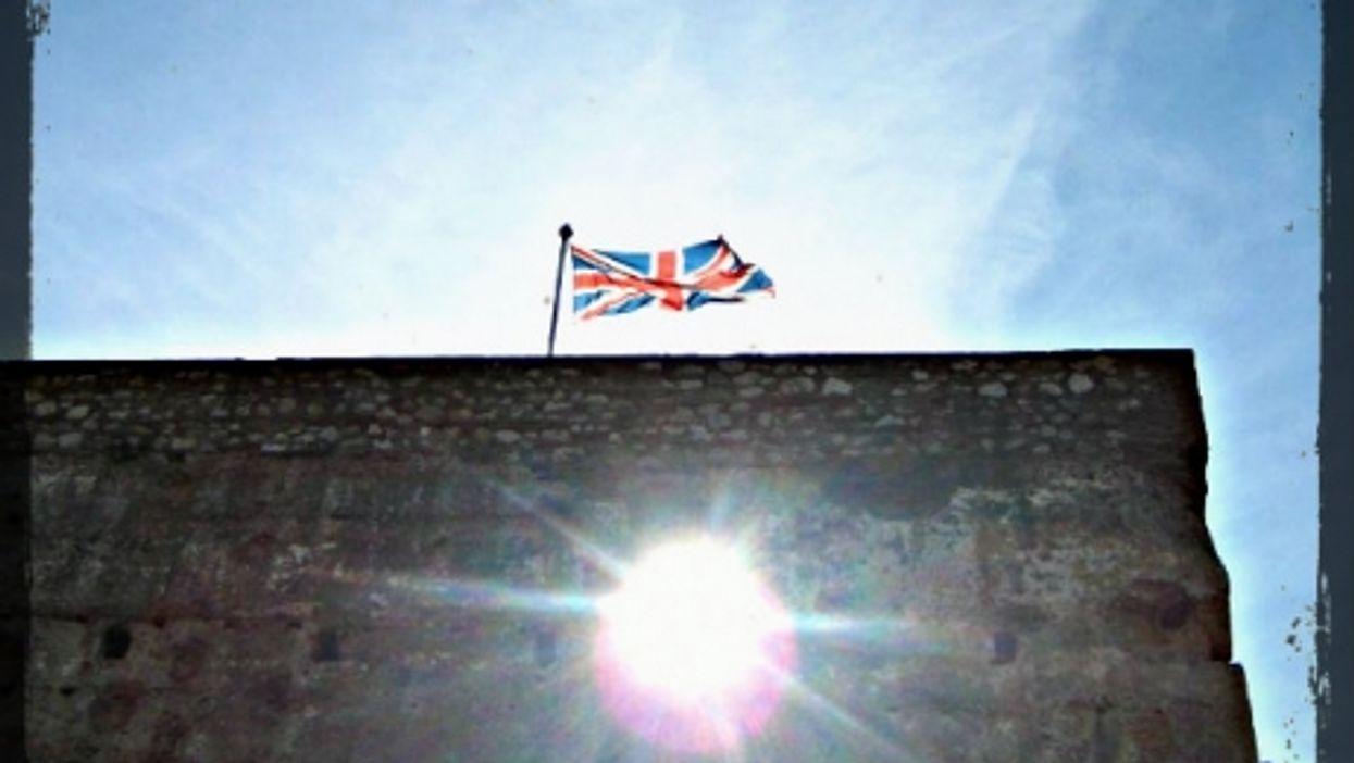 The British Union Jack flies over Gibraltar