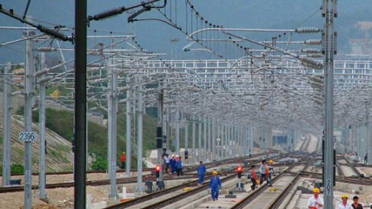 The construction of the Shenzhen section of Guangzhou-Shenzhen-Hong Kong High-speed Railway in China.