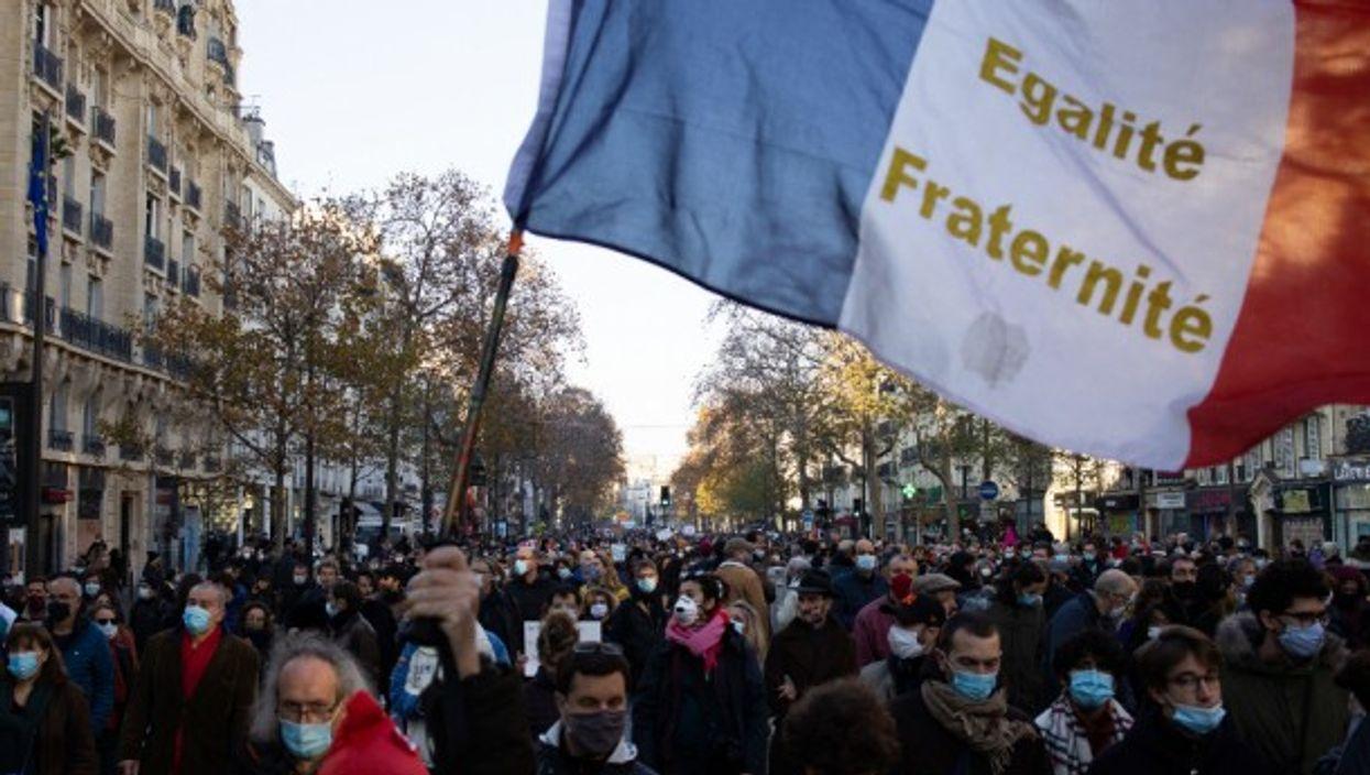 The country's motto: Liberté, égalité, fraternité