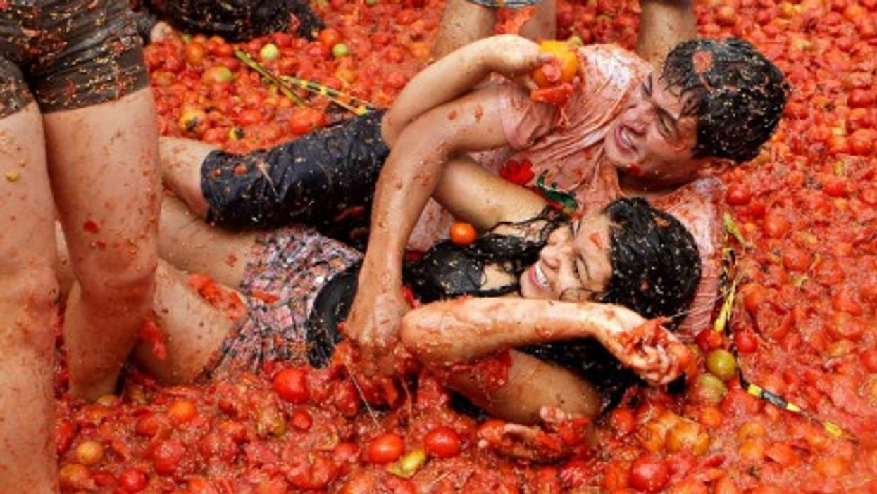 The eighth annual Tomatina in Sutamarchan, Colombia