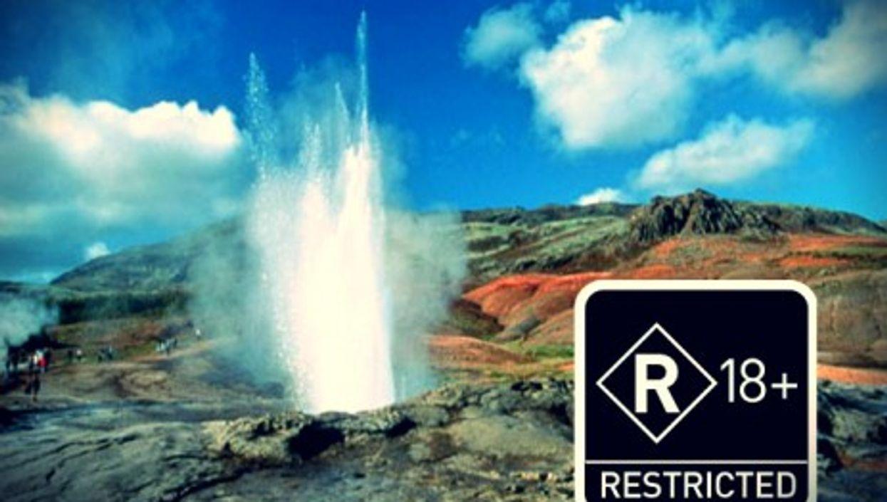 "The erupting ""Great Geysir"" in Haukadalur, Iceland"