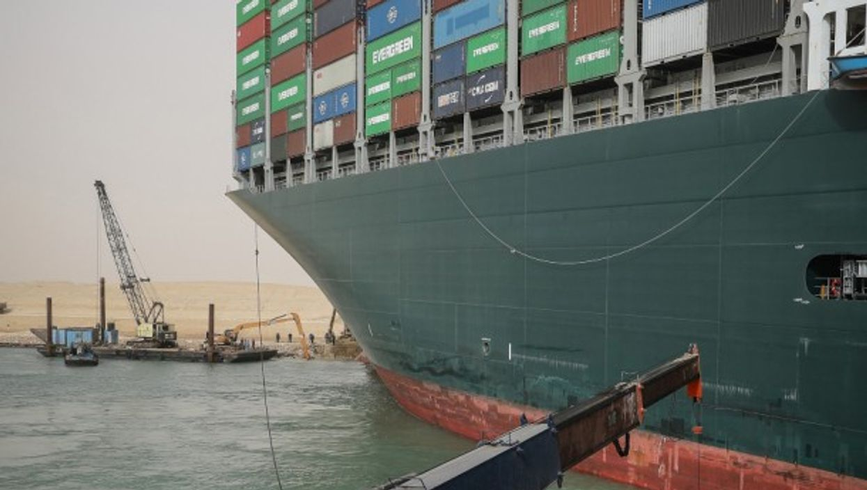 The Ever Given, currently stuck in the Suez Canal