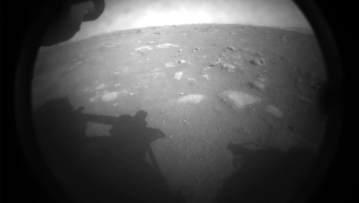 The first image NASA's Perseverance rover sent back after landing on Mars.