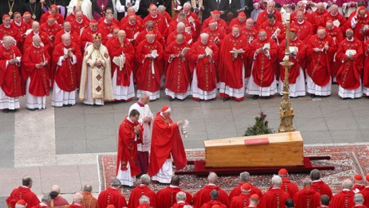 The future Benedict XVI presiding over John Paul's funeral in April 8, 2005.