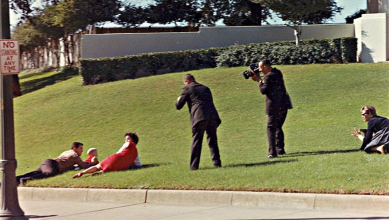 The infamous 'grassy knoll' site of would-be second gunman just after JFK was shot