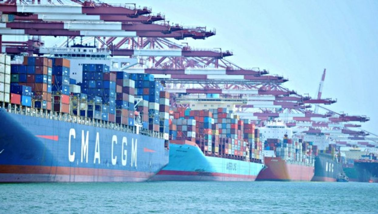 The maritime container port of Qingdao, easternChina