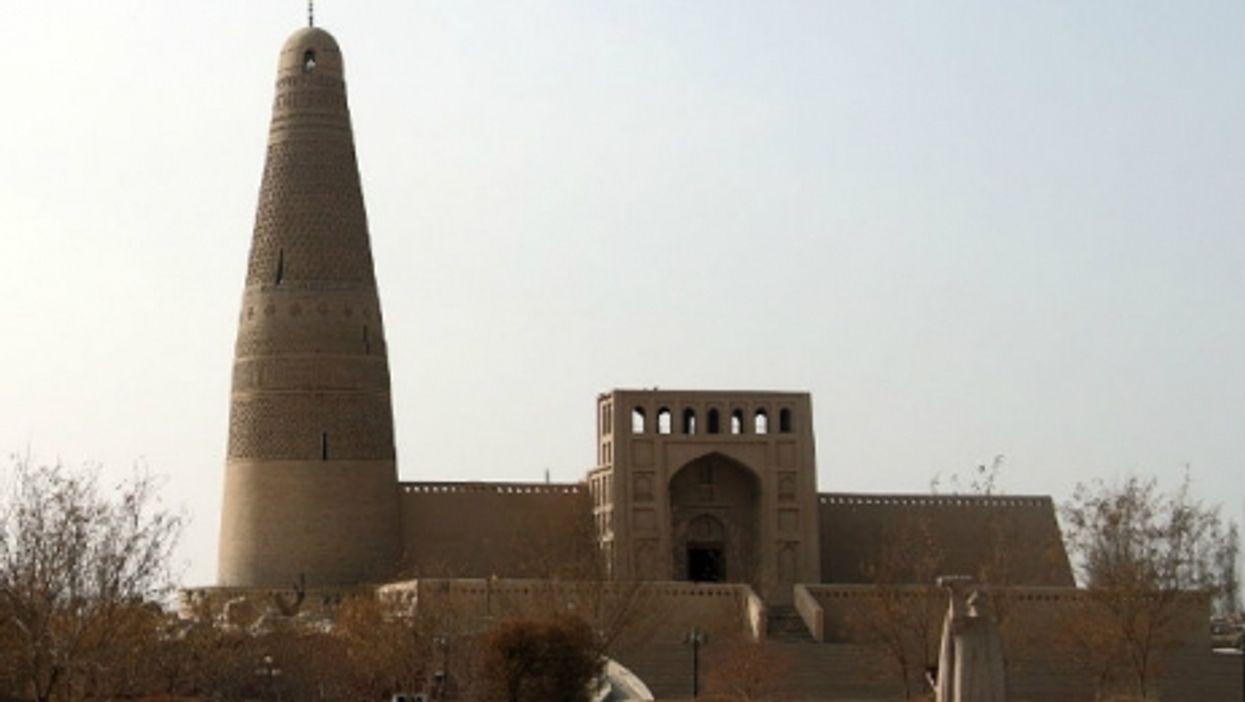 The minaret of Sultan Emin Khoja in the city of Turpan in China's Xinjiang region