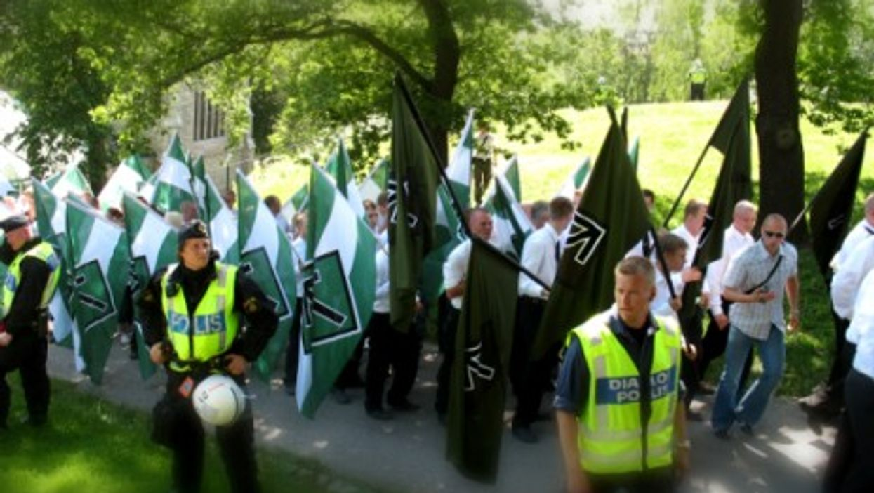 The neo-Nazi Swedish Resistance Movement demonstrating in Stockholm.
