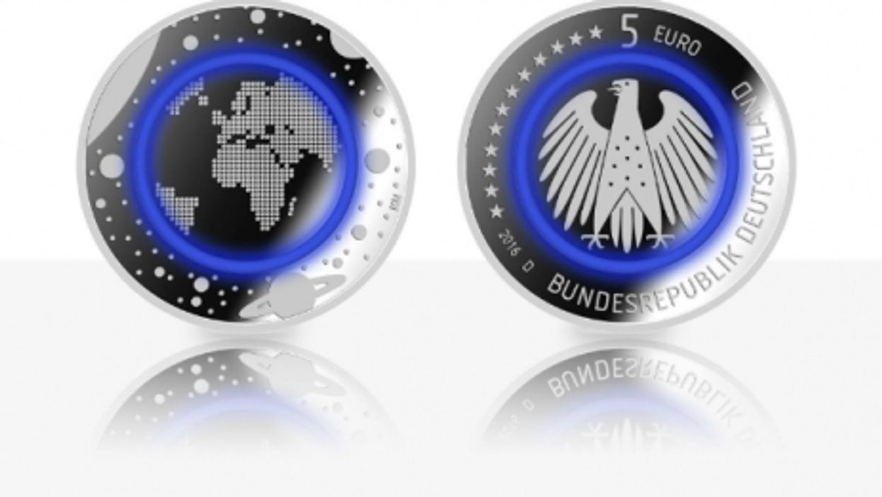 The new blue five-euro coin