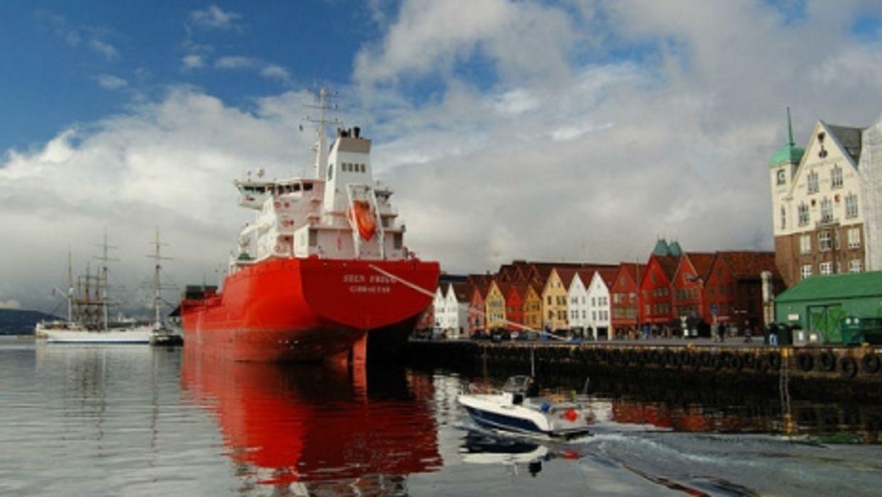 The oil tanker Sten Frigg moored in Bergen, Norway