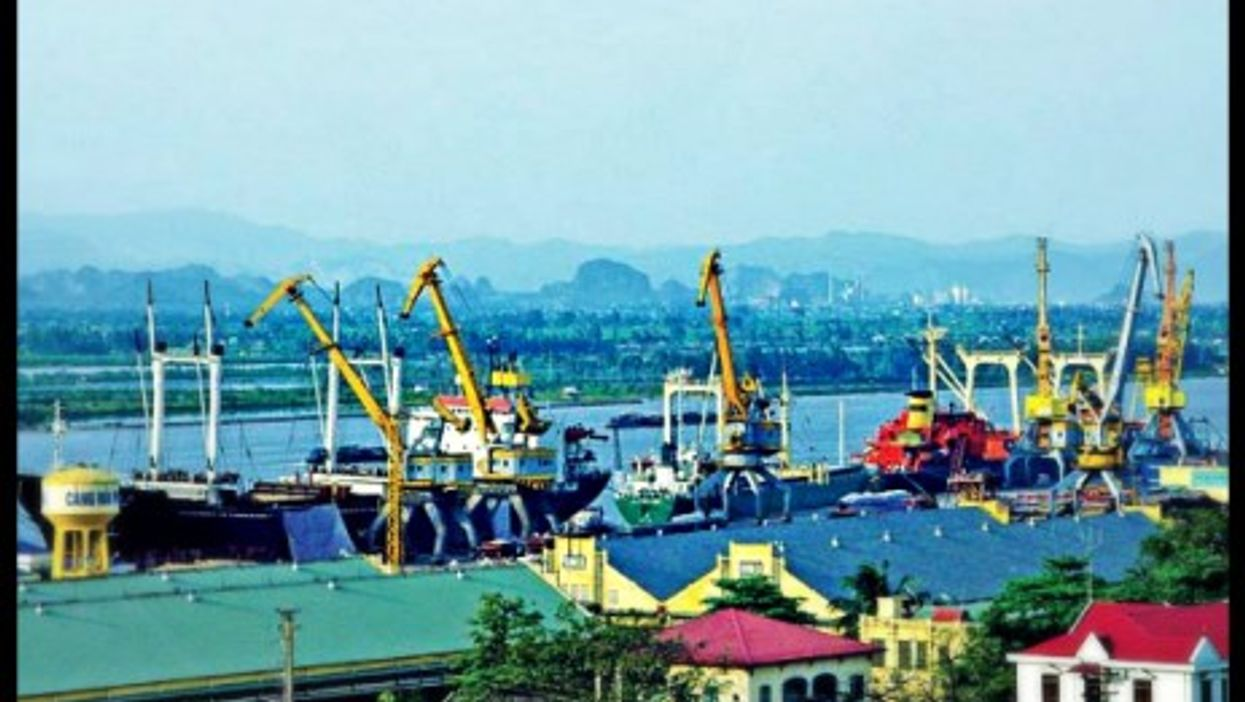 The port of Haiphong, set to become one of the main gateways in and out for north Vietnam.