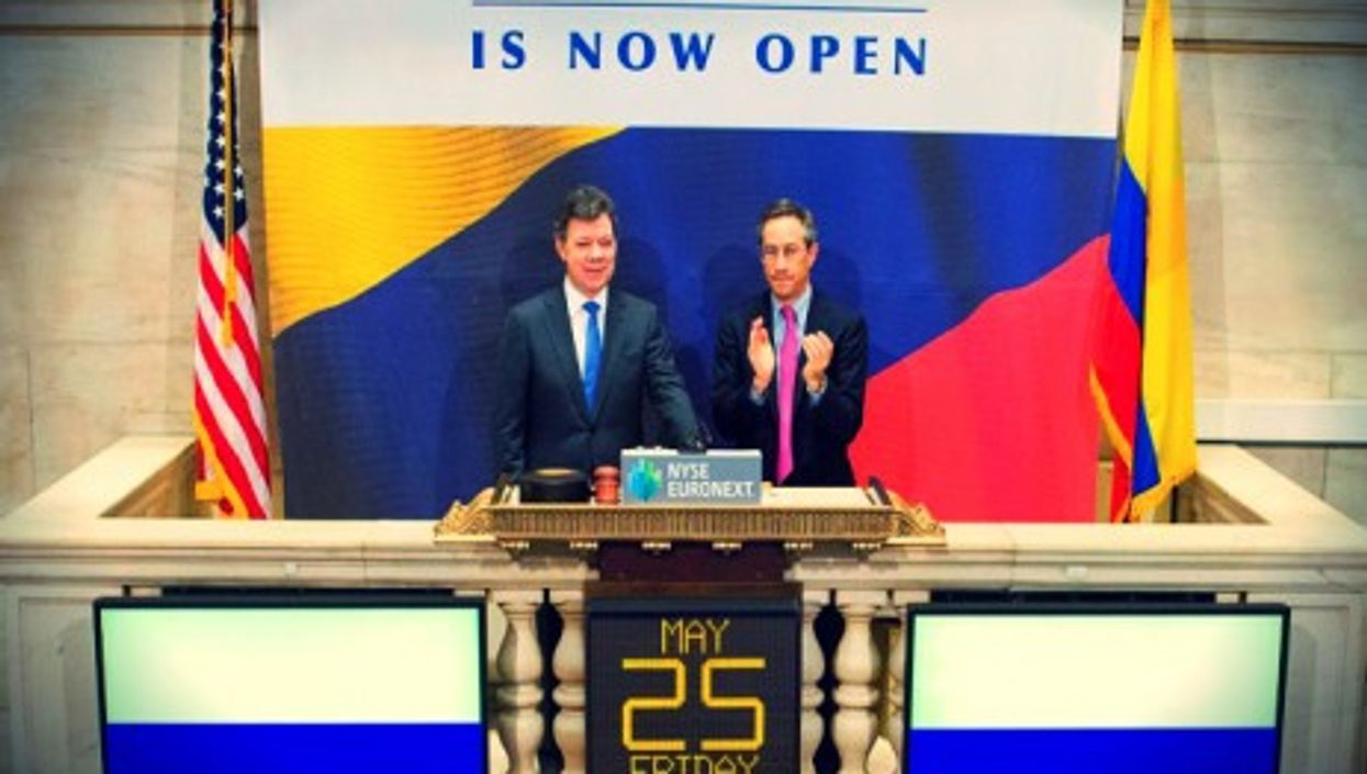 The President of Colombia ringing in New York