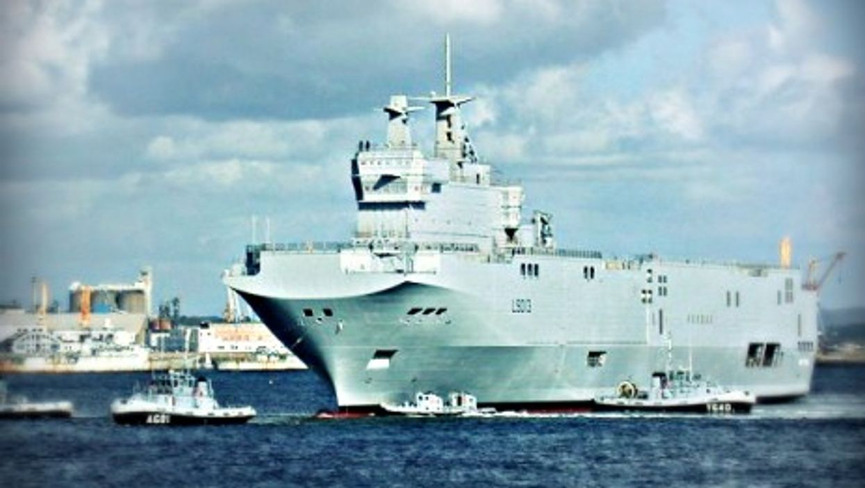 The Projection and Command vessel Mistral in Brest, France.