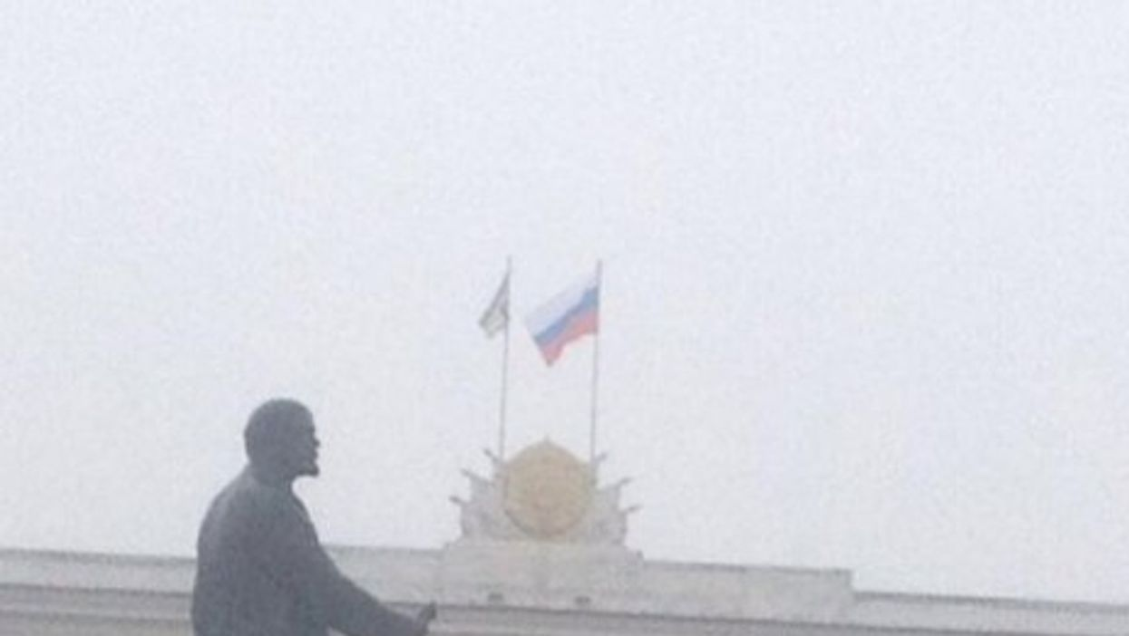 The Russian flag over the Crimean Parliament in Ukraine