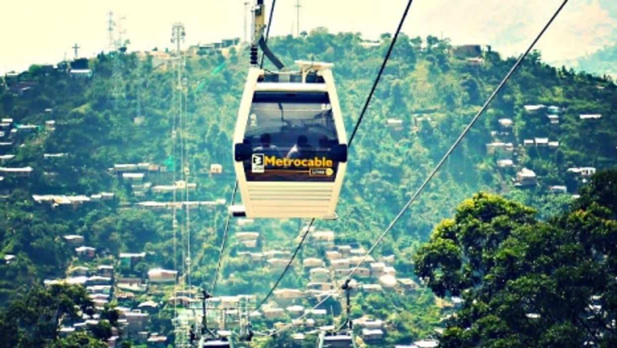 The shiny Medellin metrocable soon after opening.