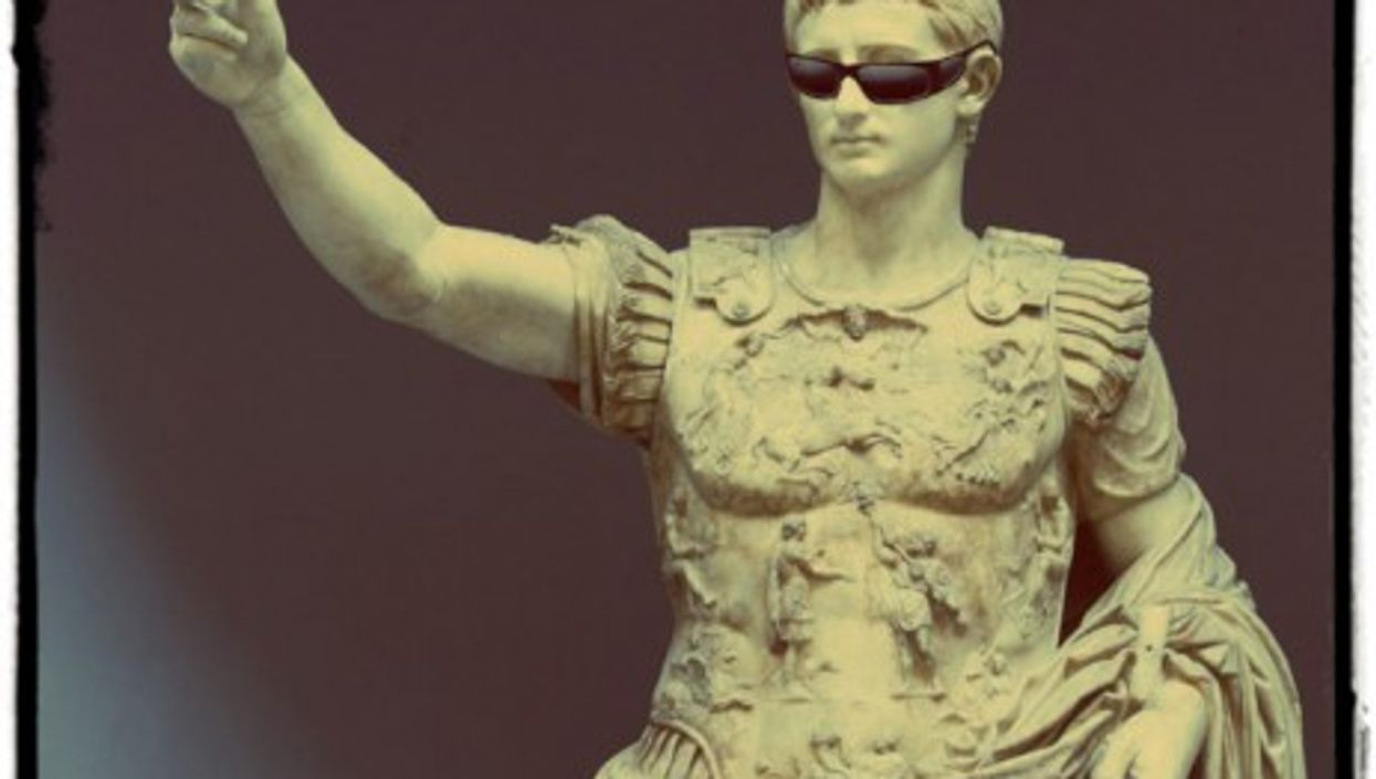 The statue of Augustus found in Livia's Villa, showing tourists the way