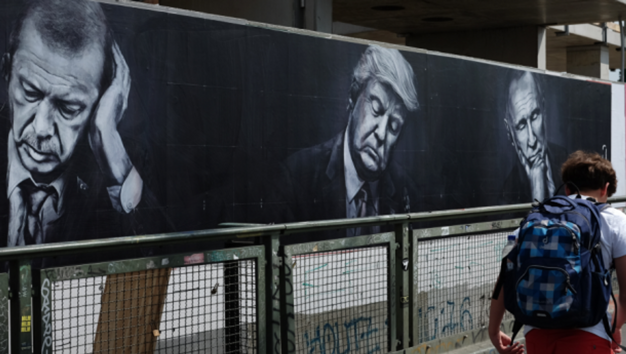The three nationalist leaders on a mural in Berlin, Germany