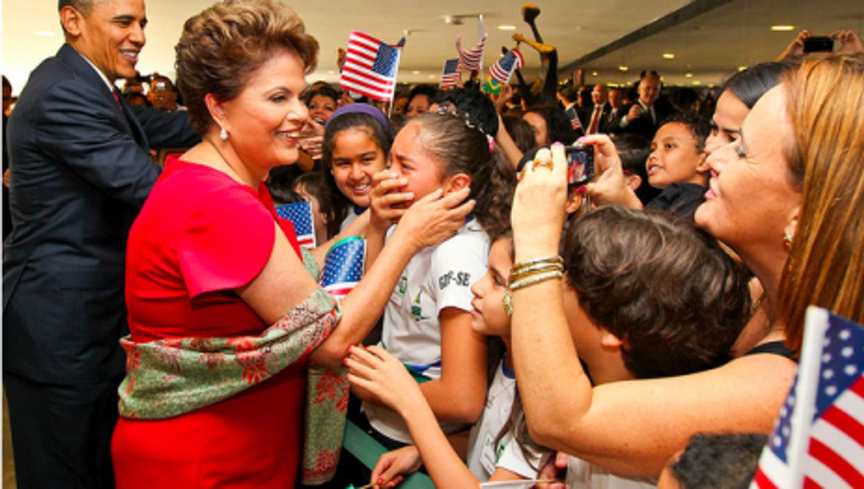 The two presidents in Brazil last year (Roberto Stuckert Filho)