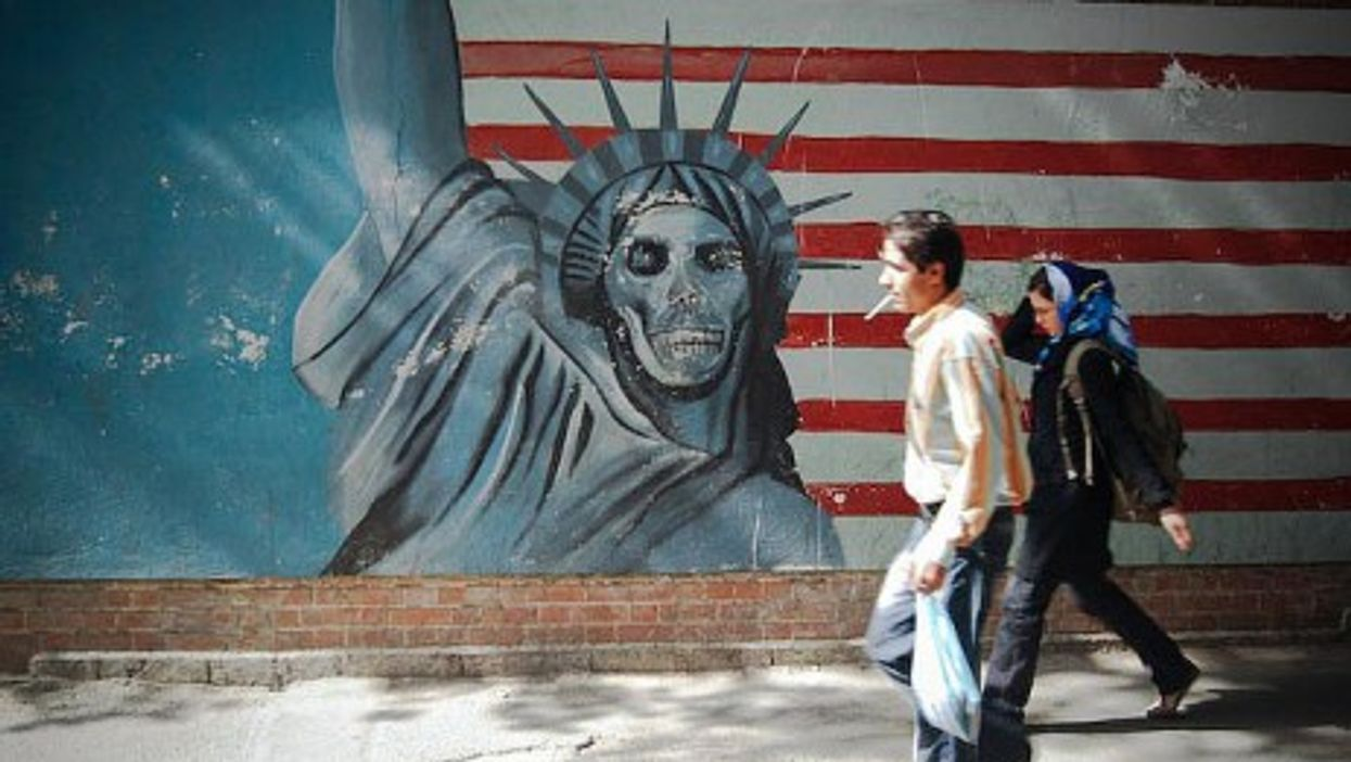 The walls of the former U.S. embassy in Tehran