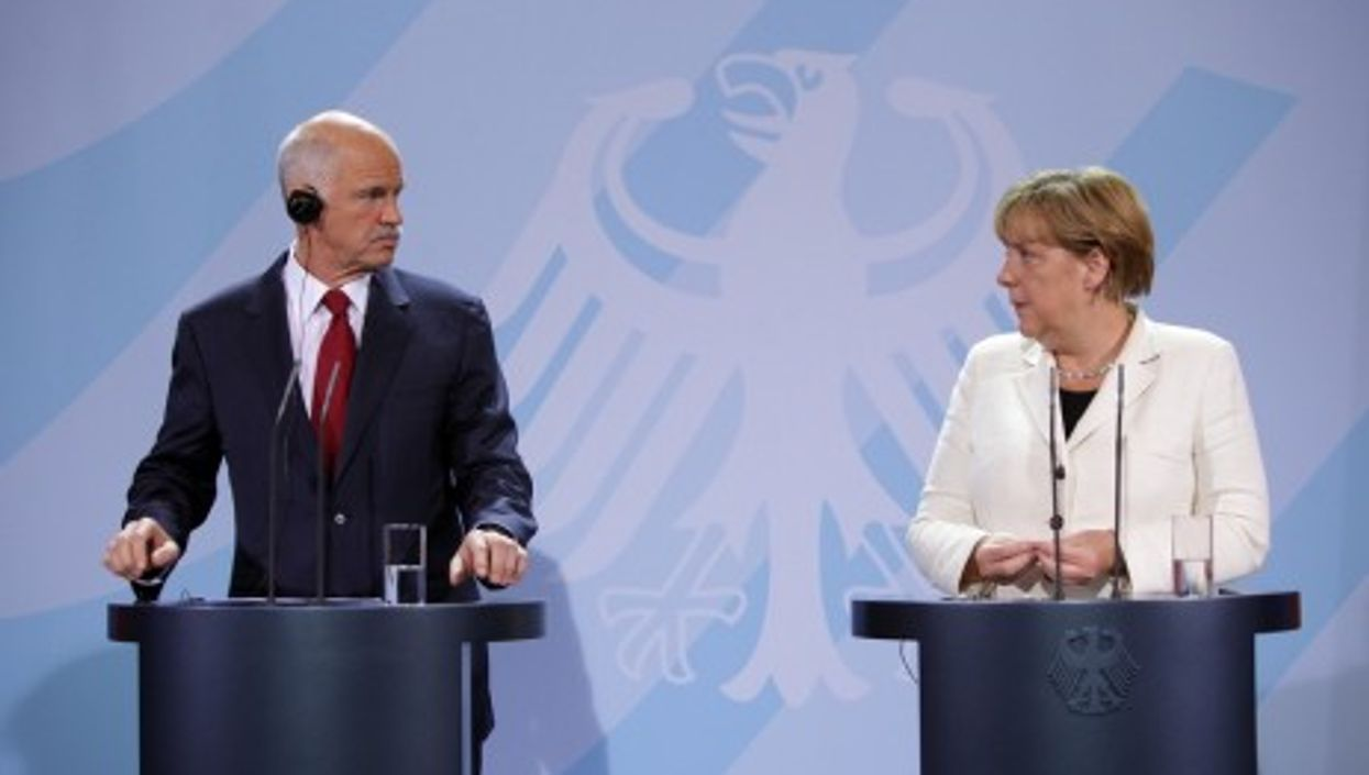 then-Prime Minister George Papandreou of Greece (left) and German Chancellor Angela Merkel in September 2011