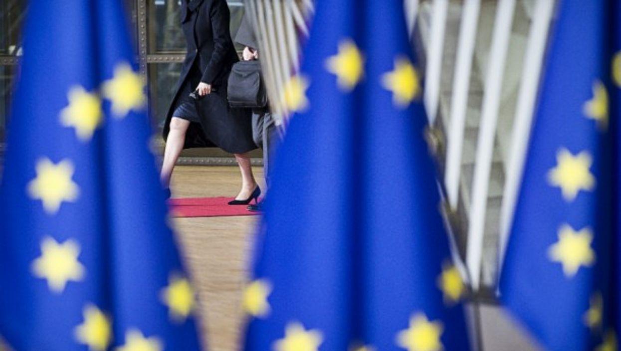 Theresa May arriving in Brussels, Belgium