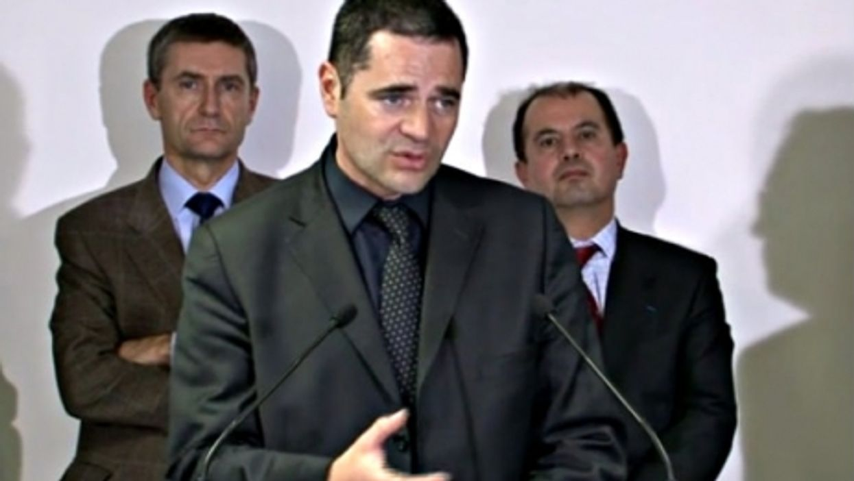 Thierry speaks with the press after a 2011 cannabis bust