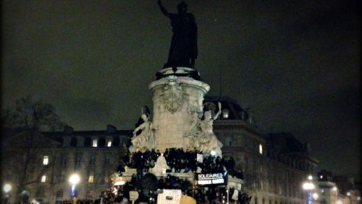 Thousands gathered at the Place de la République for a vigil Wednesday night.