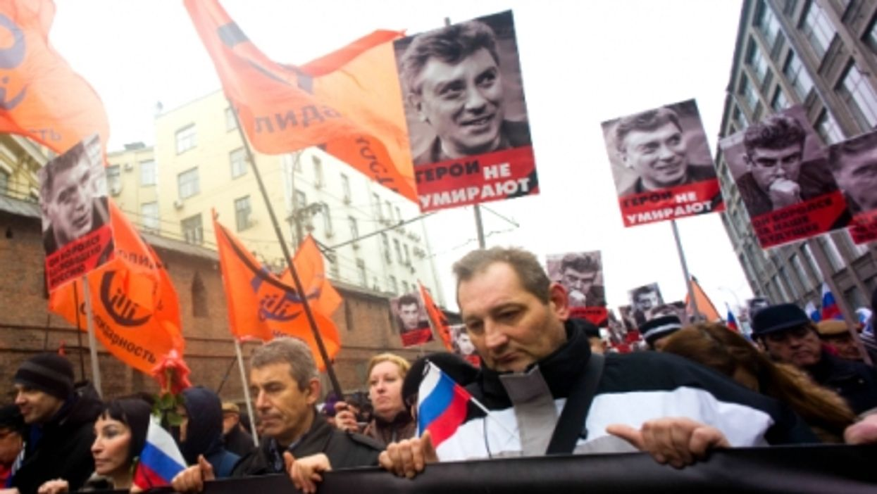 Thousands of people march in Moscow to honor Russian opposition politician Boris Nemtsov, killed February 27, 2015