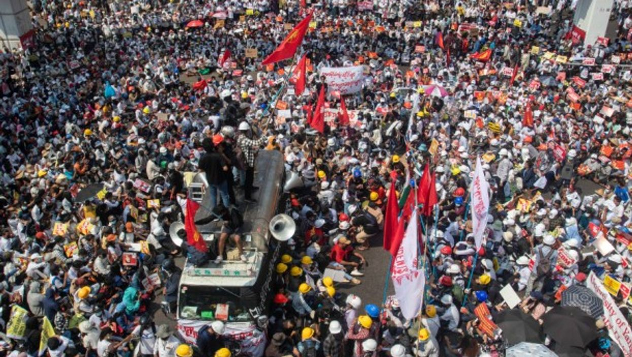 Thousands of protesters continue to demonstrate against the military coup in Yangon, Myanmar