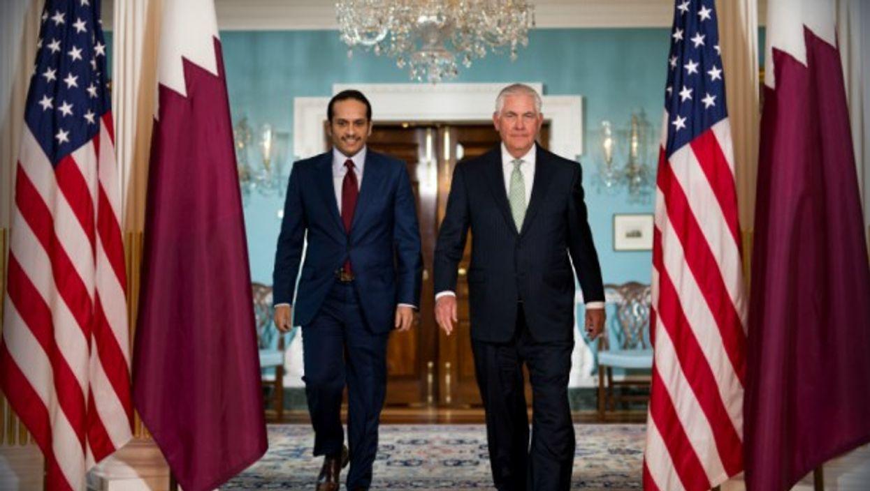 Tillerson with Qatari Foreign Minister Sheikh Mohammed Bin Abdulrahman Al Thani