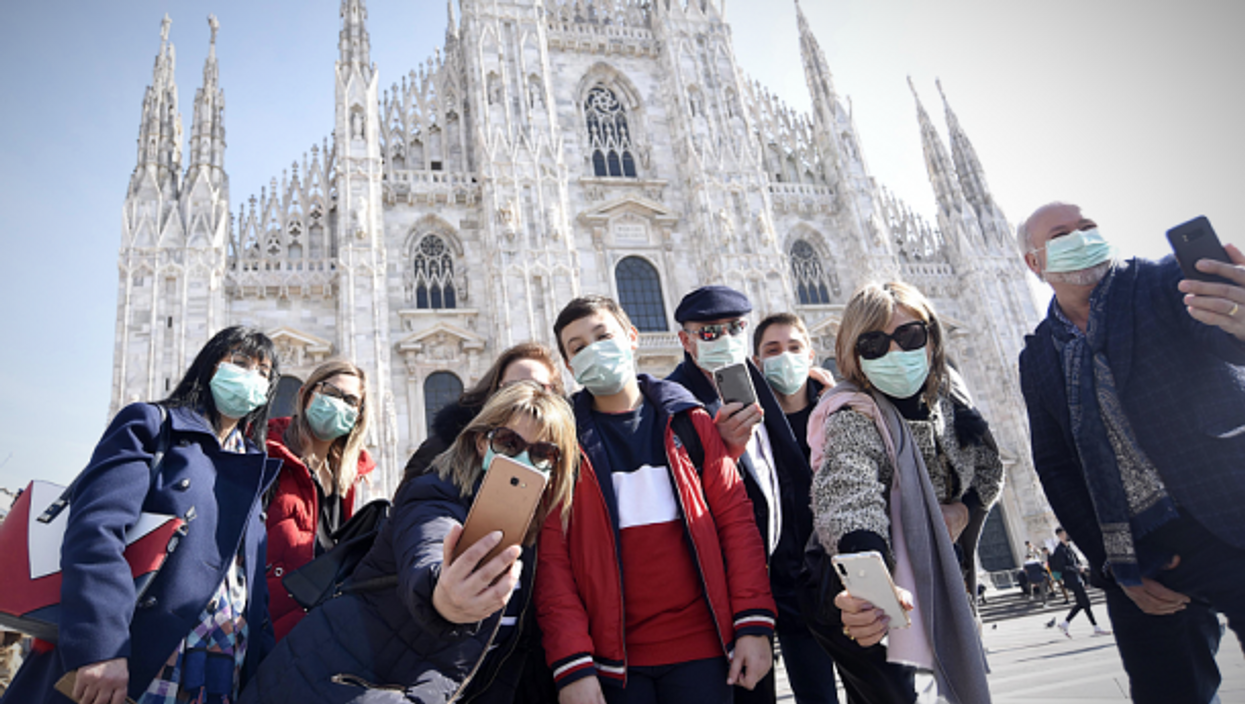 Tourists in Milan on Feb. 24