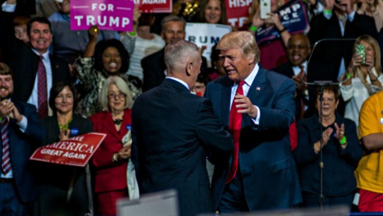 Trump and Gen. Mattis in Fayetteville, NC, on Dec. 6