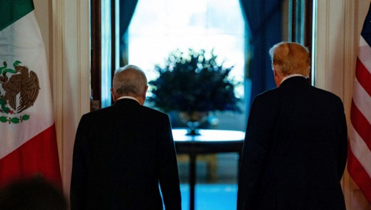 Trump and Lopez Obrador at the White House in July 2020