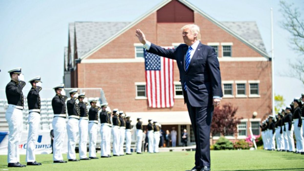 Trump at 136th Coast Guard Academy commencement ceremony in May.