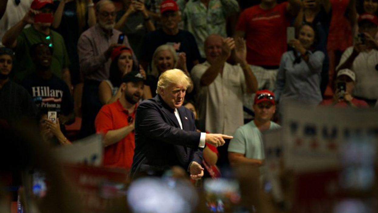 Trump at a campaign rally Austin, Texas on Aug. 23