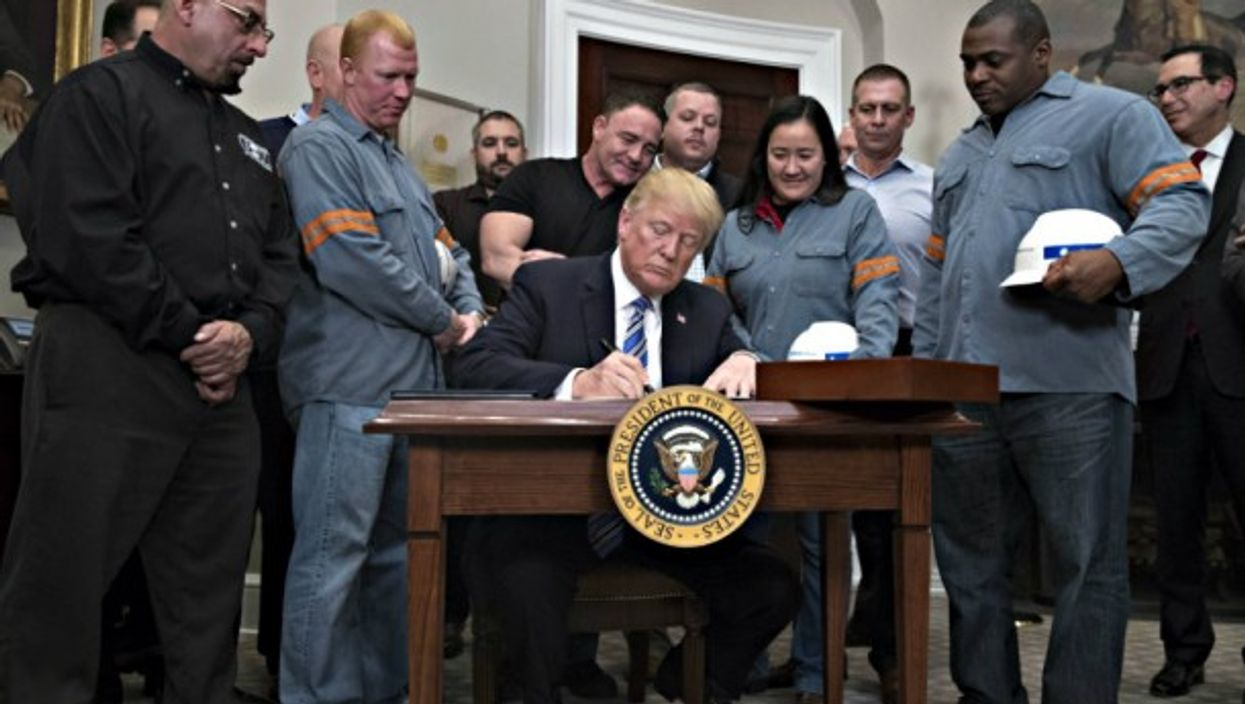 Trump signs steel tariffs in Washington on March 8