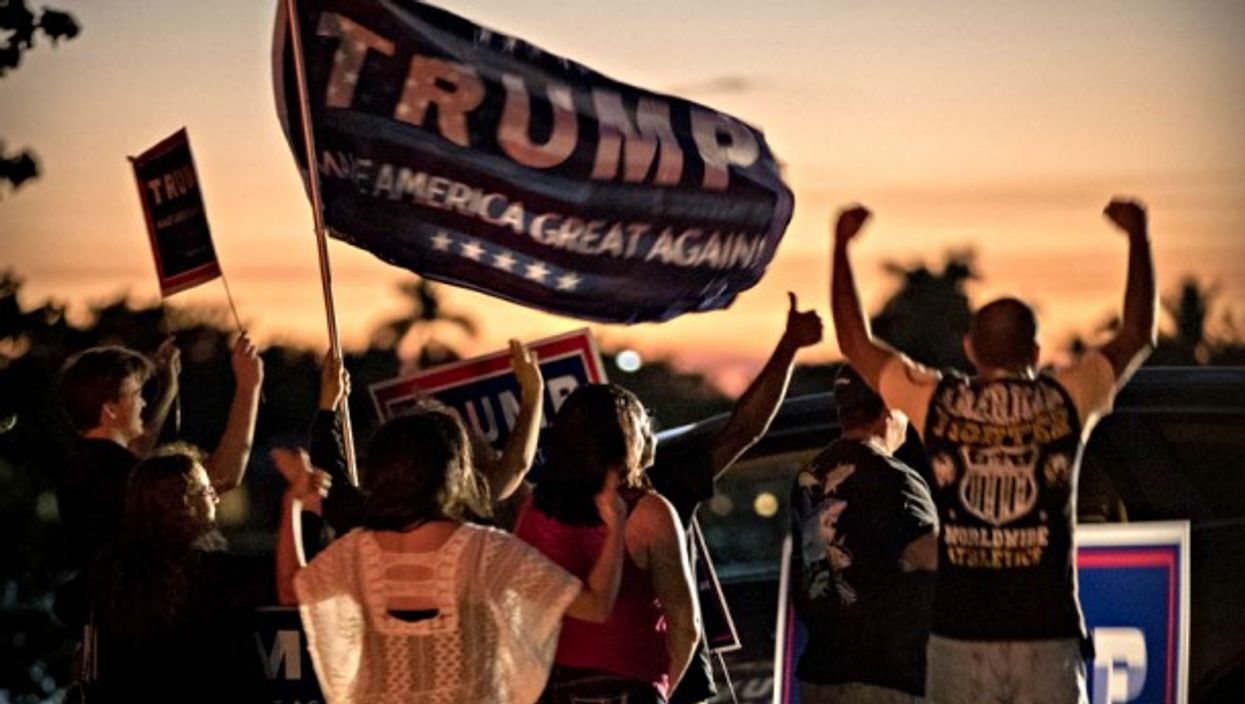 Trump supporters in the sunset