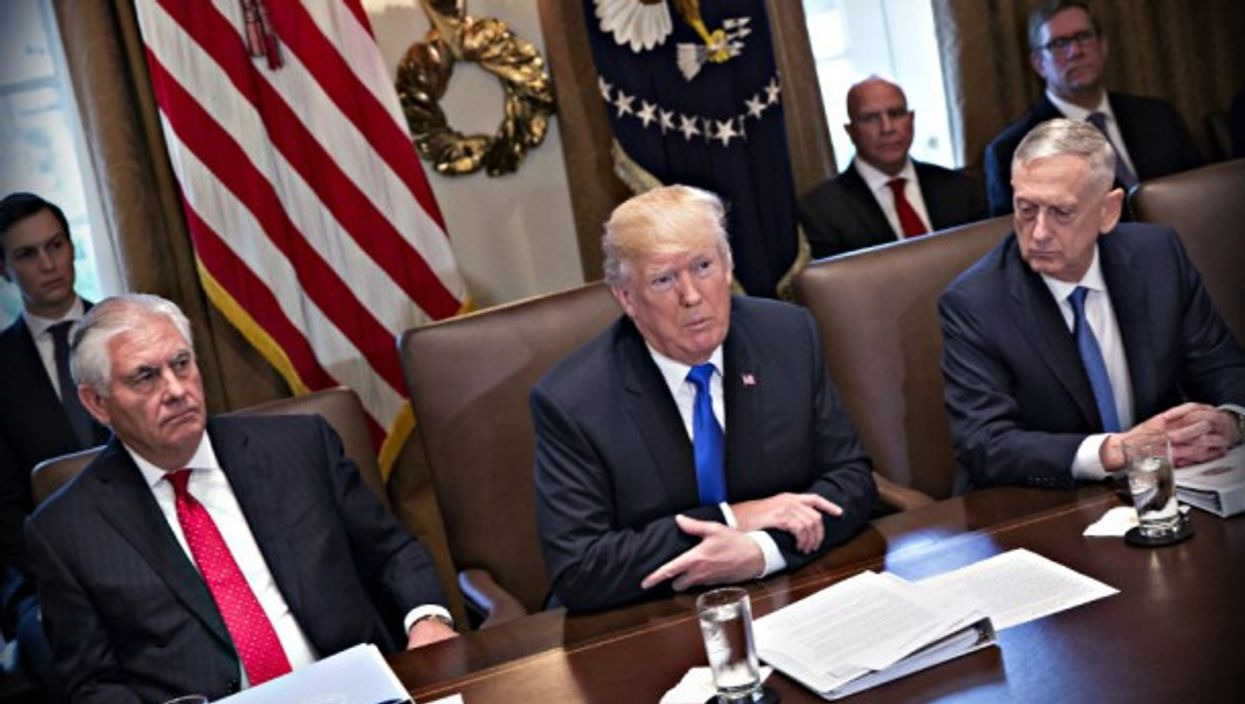 Trump, with Sec. of State Tillerson and Sec. of Defense Mattis