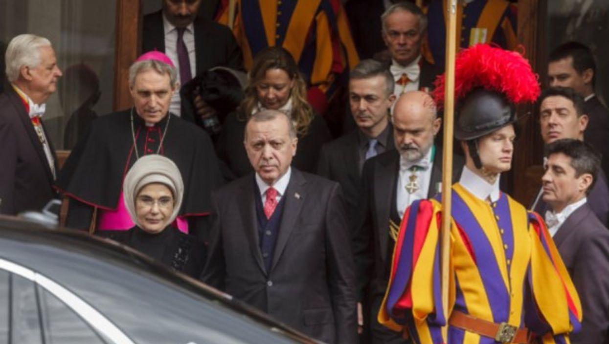 Turkey's President Recep Tayyip Erdogan at the Vatican on Monday