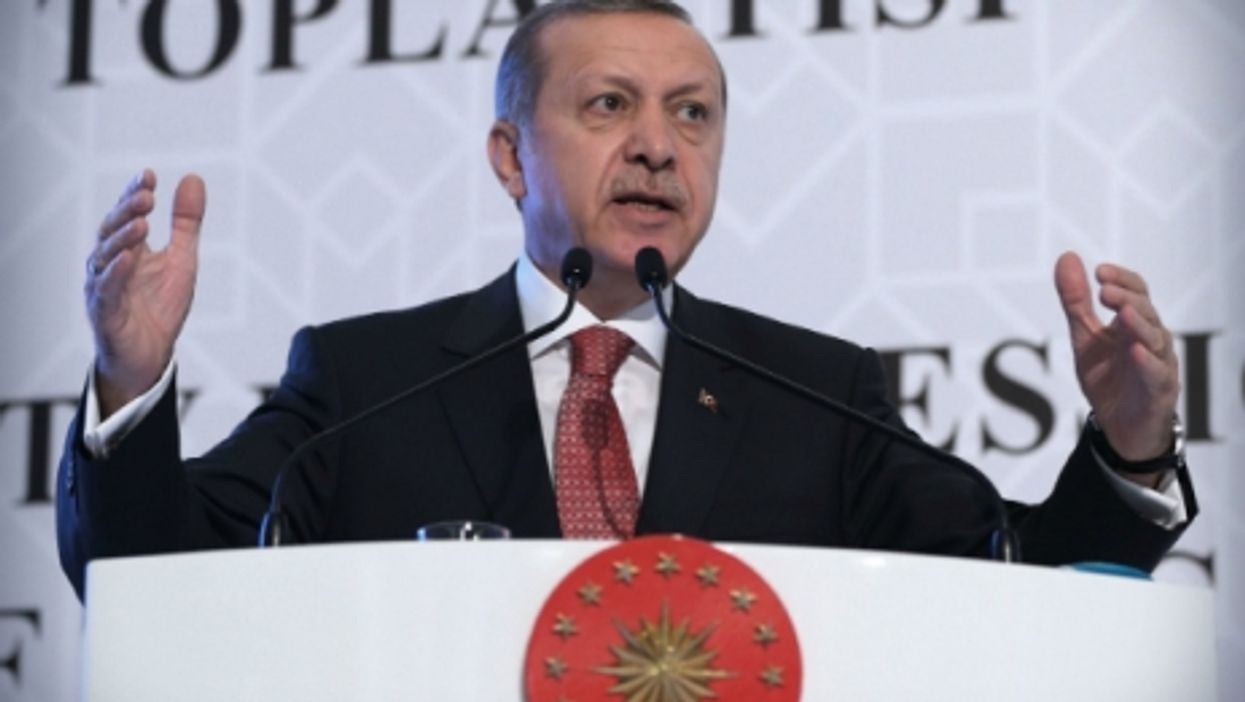 Turkish President Recep Tayyip Erdogan speaking at an Organization of Islamic Cooperation economy meeting in Istanbul, Turkey, November, 2015