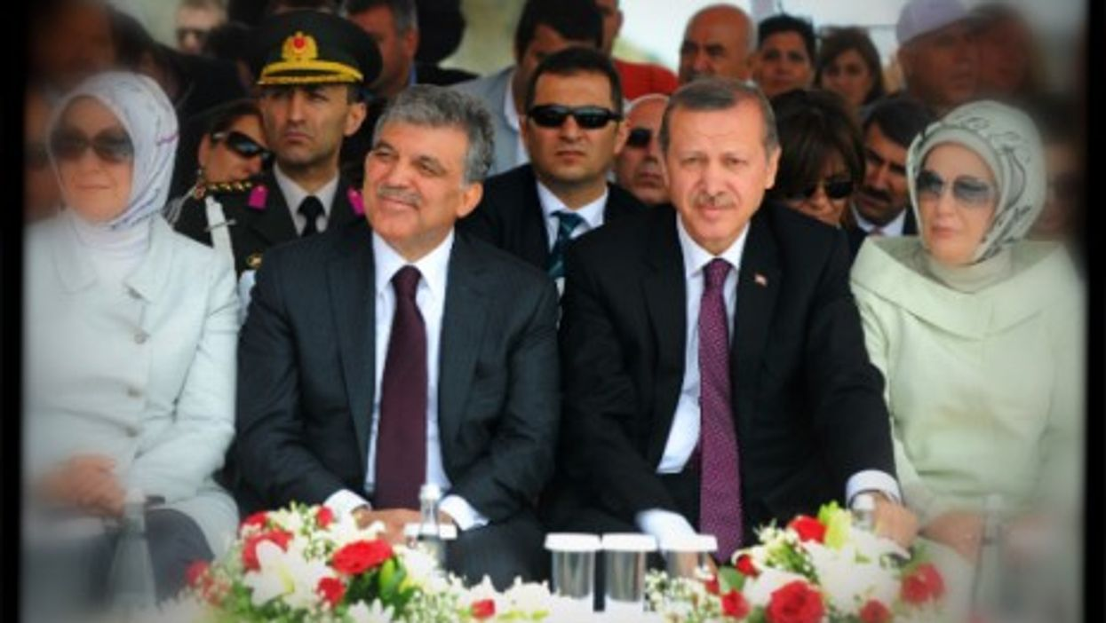 Turkish Prime Minister Erdogan and President Gül attending a ceremony in Istanbul