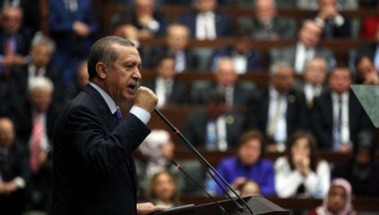 Turkish Prime Minister Recep Tayyip Erdogan delivers a speech in Ankara, Turkey, in November 2013.
